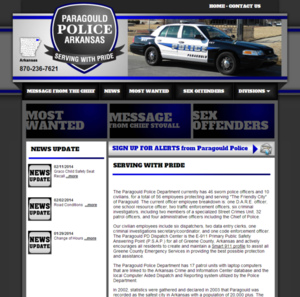 Paragould Police Department, Arkansas Website Screenshot