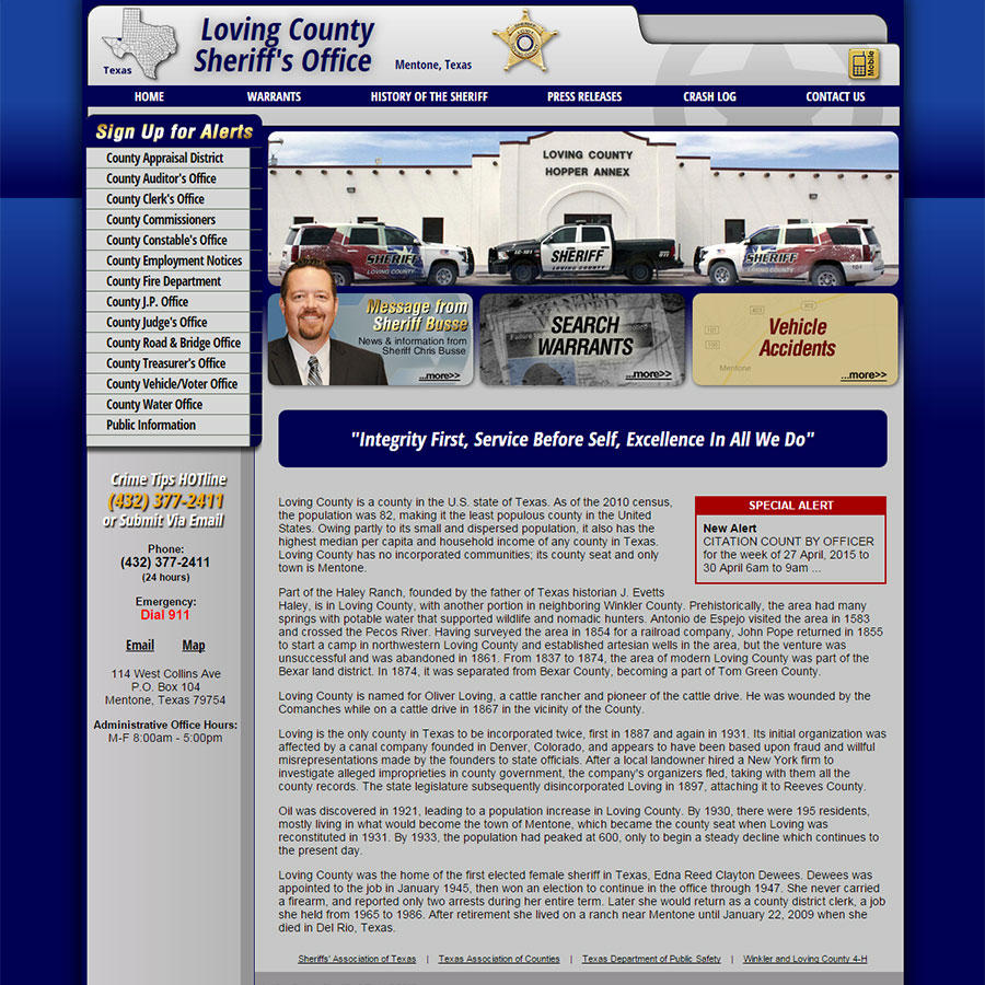 Loving County Sheriff's Office, Texas Website Screenshot