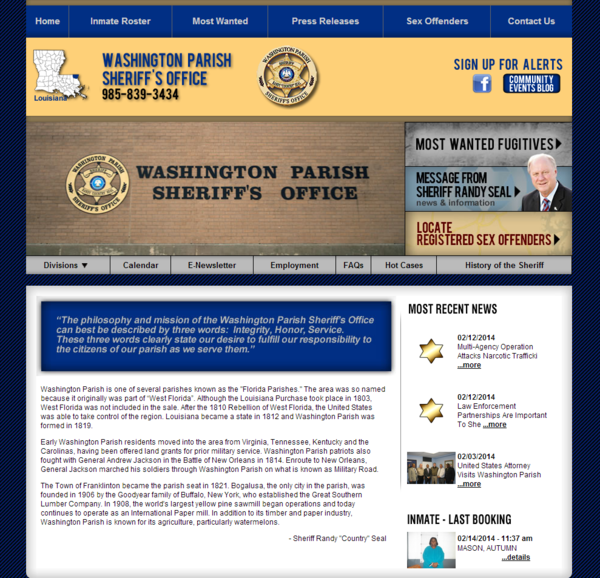 Washington Parish Sheriff's Office, Louisiana Website Screenshot