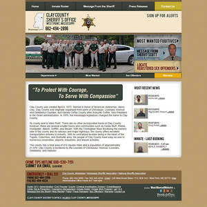 Clay County Sheriff's Office, Mississippi Website Screenshot
