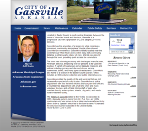 City of Gassville, Arkansas Website Screenshot