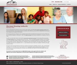 Sherman Housing Authority, Texas Website Screenshot
