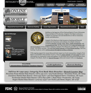Integrity First Bank Website Screenshot